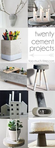 20 cement and concrete DIy craft projects from Too Much Time.- 20 cement and concrete DIy craft projects from Too Much Time on My Hands Concrete Crafts, Concrete Projects, Concrete Design, Cement Diy, Concrete Art, Diy Craft Projects, Diy Projects Painting, New Crafts, Cool Diy