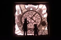 Professor Layton and the Unwound Future - illuminated shadow box. Handmade by Artistical Me.