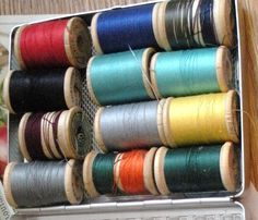 One Dozen Assorted Wooden Spools With Thread in by AuntiePrincess