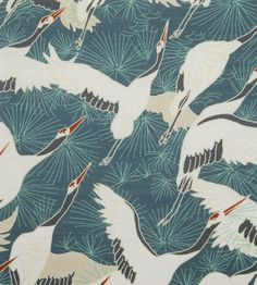 Cranes - Blue fabric, from the Emily Burningham Fabrics collection by Emily Burningham