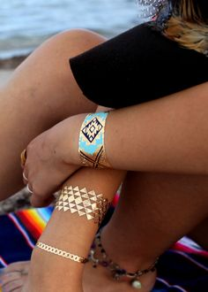 Gold and Turquoise Tribal bands, bracelets, foil tattoos, temporary tattoo, jewelry tattoo, gold tattoo