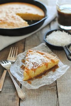 Coconut Milk Skillet Cake with a Kahlúa Drizzle from Bev Cooks @Bevvvvverly Weidner