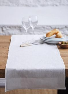 Designed exclusively for Blarney Woollen Mills, this elegant table runner is the perfect way to bring a piece of original Irish made linen to the home Elegant Table, Butcher Block Cutting Board, Table Runners, Chambray, Irish, Table Settings, Cream, Tableware, Classic