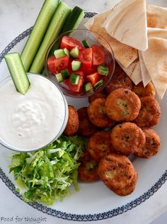 Food for thought Greek Recipes, Vegan Recipes, Cooking Recipes, Appetizer Recipes, Appetizers, Vegan Treats, Falafel, Mediterranean Recipes, Kid Friendly Meals