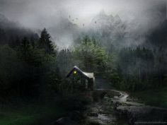 Cabin in the woods with fog and mountains.