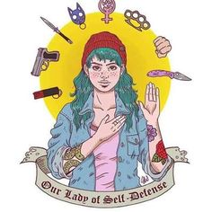 Our Lady of Self-Defense ¡Autodefensa feminista! Happy International Women's Day, Riot Grrrl, Feminist Art, Intersectional Feminism, Girl Gang, Self Defense, Our Lady, Girls Be Like, Jiu Jitsu