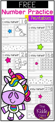 Free Number Practice Printables. There are 3 printable pages of number practice in this packet. Students use a variety of skills with each practice page. They will learn to count, identify, trace and write numbers. This packet is perfect for kindergarten students who are learning numbers. Kindergarten | Kindergarten Worksheets | Kindergarten Math