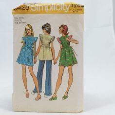 Vintage Simplicity 5428 Teen MINI DRESS Mini Jumper Tunic Sew Pattern Sz 11 12 #Simplicity