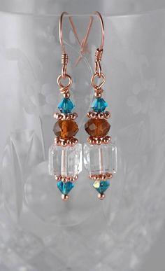 Topaz and Teal Crystal Earrings Dangle Earrings by