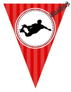 """DIY Skateboarder Birthday Party Pendant Banner. Design Online Download & Print Immediately. Any Color Scheme - Any Wording. Pendant Banners each panel measures: 8.5"""" x 11"""" (19.75 CM x 25.85 CM) Hot Glue or Tape Pendants to your string. Or punch holes and tie together with matching ribbon. Print at home or take to a place like Kinko's, Office Max, Copy Max, Staples or other stores that offer printing services."""