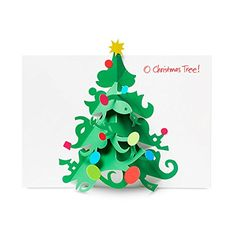 """From the Museum of Modern Art (MoMA) product collection. Since 1954, MoMA has created its annual selection of unique holiday cards from submissions by contemporary artists and designers worldwide. Inside message: """"O Christmas Tree!"""" Pop-up elements. Light green envelopes. Box of 8."""