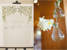 guestbook, hanging floral decor, rustic spring green wedding, Morrissey Photography