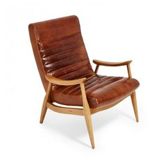 Hans Caramel Leather Chair By Dwell Studio Accent Chairs