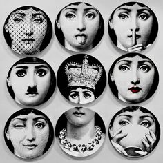 European MILAN Style Gorgeous Rare Fornasetti Plates Lina Lightbulb Face Piero Fornasetti Wall Hanging Decorative 8 Inch Dish -- Click image to read more details. #HomeDecor