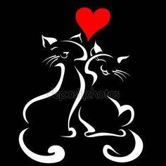 Gatos felices en el amor — Archivo Imágenes Vectoriales © Valenty #6930597