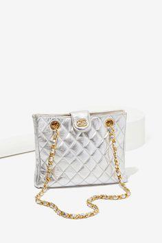 Vintage Chanel Silver Leather Bag