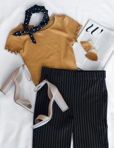 Lady Boss Stripes Pants Source by pants outfit Tumblr Outfits, Mode Outfits, Trendy Outfits, Ladies Outfits, Ladies Clothes, Fashion Pants, Look Fashion, Fashion Outfits, Fashion Trends