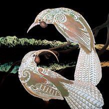 Aroha mai, aroha atu, Our World - Community Artwork Prints, Fine Art Prints, Lake Wakatipu, Maori Designs, Bird Perch, Blue And Copper, Bone Carving, Large Canvas, Bird Species