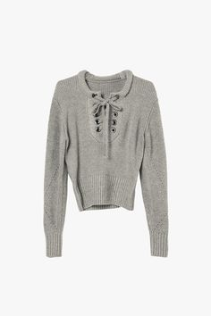 Gray Laced Crop Sweater