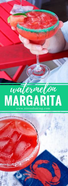 Watermelon Margaritas: A fruity, slightly sweet margarita that can easily be made on the rocks or frozen! Fruity Alcohol Drinks, Alcohol Drink Recipes, Fun Summer Drinks Alcohol, Frozen Alcoholic Drinks, Alcholic Drinks, Summer Cocktails, Margarita Drink, Margarita Recipes, Party Drinks
