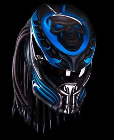 Custom New Predator Motorcycle DOT Approved Helmet - Blue Basic Helm NHK Certificate DOT Full Face Surely that's been with the National Indonesia SNI Additional accessories such as Lamp with Predator Helmet, Alien Vs Predator, Cool Bike Helmets, Motorcycle Helmets, Motorcycle Events, Motorcycle Style, Used Motorcycles, Custom Motorcycles, Muscle Cars