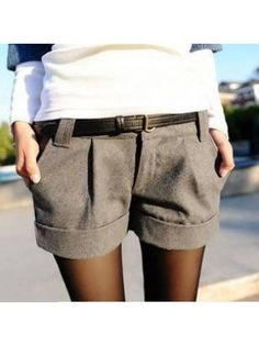 2014 autumn and winter women's turn up straight woolen bootcut short pants plus large big size casual shorts black grey Shorts from. Cut Jean Shorts, Grey Shorts, Casual Shorts, Cut Jeans, Short Outfits, Short Dresses, Short Noir, Tailored Shorts, Pants For Women