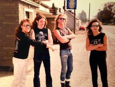 Lars Ulrich, Cliff Burton, James Hetfield and Kirk Hammett from Metallica in Ireland 1986 - not quite sure what Lars is pointing at, but I think it's James' . Great Bands, Cool Bands, Of Wolf And Man, Jason Newsted, Cliff Burton, Kirk Hammett, James Hetfield, Rockn Roll, Music Magazines