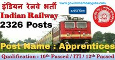RRCCR Central Railway Jobs 2016-17 for 2326 ITI Apprentices Posts