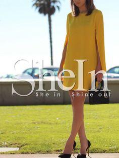 Yellow+Crew+Neck+Slit+Sleeve+Shift+Dress+18.99