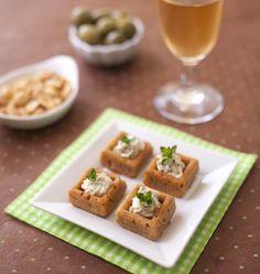 Bouchées aux olives, tomates séchées et crémeux ail & fines herbes - Recettes de cuisine Ôdélices