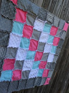 Coral, Aqua & Gray Rag Quilt/Blanket!  Perfect baby shower gift or birthday gift, striking girl nursery crib bedding/quilt on Etsy, $75.00