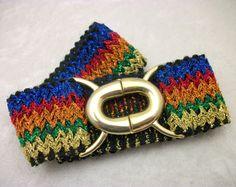 Sparkly Metallic Elastic Cinch Belt - Vintage 70s Disco Style