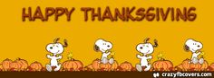 Snoopy Happy Thanksgiving Facebook Cover - Facebook Timeline Cover Photo - Fb Cover