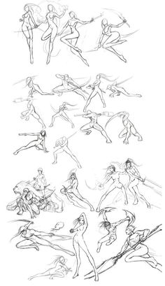 Anime/ manga girl with sword, spear, bow Fighting poses & references Gesture Drawing, Body Drawing, Drawing Base, Anatomy Drawing, Movement Drawing, Action Pose Reference, Action Poses, Drawing Reference, Drawing Tips