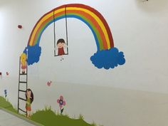 Stall Decorations, School Decorations, Mural Art, Wall Murals, Wall Art, Wall Décor, Spring Projects, Wall Drawing, Rainbow Wall