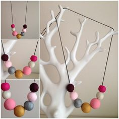 Pastel coloured long clay necklace. Handmade in Melbourne. on Etsy, $25.00 AUD