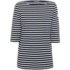 Saint James Phare Navy And White Striped Shirt ($165) ❤ liked on Polyvore featuring tops, blue, navy and white striped shirt, blue striped shirt, stripe top, 3/4 sleeve shirts and boat neck striped shirt
