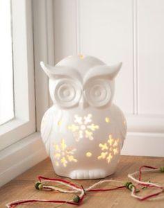 Gisela Graham White Ceramic Owl Tea Light Holder Dream Catcher Catchers Christmas