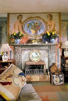 Interior at Charleston farmhouse. Home to the artists Vanessa Bell and Duncan Grant of the Bloomsbury Group Vanessa Bell, Virginia Woolf, Duncan Grant, Bohemian Decor, Boho, Bohemian Tapestry, Bloomsbury Group, Charleston Homes, Handmade Home Decor