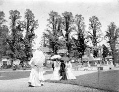 [Women with parasols, Great Exhibition, Herbert Park, Ireland Homes, World's Fair, Dublin Ireland, Old City, Vintage Photographs, Old Photos, 1930s, The Past, Places To Visit