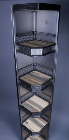 This Modern Industrial Corner Shelving Unit will become the focal point of your space. Five shelves give you plenty of space to dress up the corner of your space. Each shelf is wood, wrapped in an… Welded Furniture, Iron Furniture, Steel Furniture, Unique Furniture, Rustic Furniture, Metallic Furniture, Furniture Online, Furniture Stores, Discount Furniture