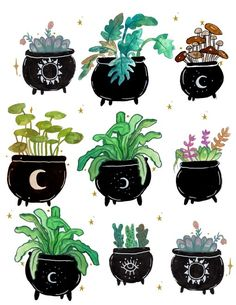 Cauldron Planters Art Print by Hannah Margaret Illustrations - X-Small Art Sketches, Art Drawings, Witchy Wallpaper, Witch Drawing, Wicca, Plant Drawing, Witch Art, Plant Art, Plant Illustration