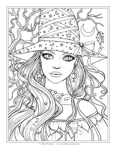 Free Witch Coloring Page Halloween Pages By Molly Harrison Fantasy Art