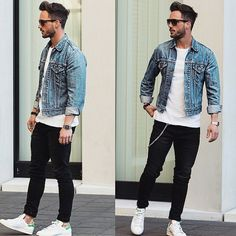 A light blue denim jacket and black jeans is a savvy combo to add to your casual lineup. This outfit is complemented perfectly with white leather low top sneakers. Herren Outfit, Urban Street Style, Street Styles, Men Street, Men Looks, Urban Fashion, Streetwear, Men Casual, Casual Fall