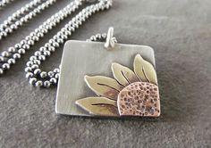 Sale-Rustic Boho Dangle OOAK Sterling Silver-Sun Flower Artisan Pendant Necklace. by JewlieBeads on Etsy