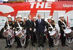 Royal Marines band with Tom Hardy and Harrison Ford