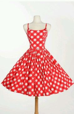 PUG Pinup Couture Red & White Picnic Gingham Jenny Swing 50s Rockabilly Dress