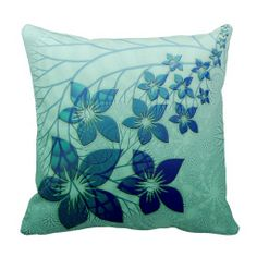Elegant Retro Turquoise Teal Floral Pattern Throw Pillow