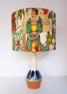 Awesome lamp from Retro Print Revival. I love the use of vintage lamp bases and material. I am plotting to have one of these...