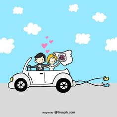 Just married cartoon couple Free Vector Newly Married, Just Married, Symbol Auto, Angel Cartoon, Human Vector, Couple Silhouette, Guest Book Tree, Romantic Images, Free Cars